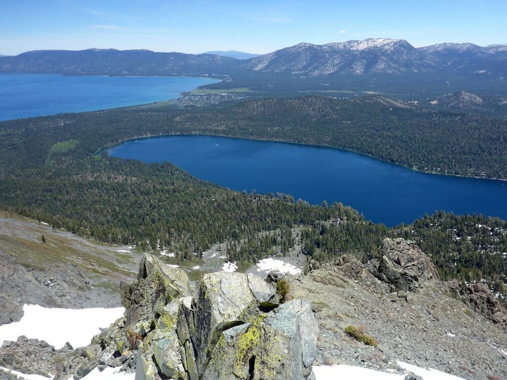 Mt Tallac summit looking down on Lake Tahoe