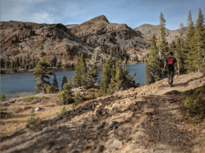 Man hiking in Desolation Wilderness, El Dorado County